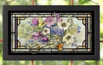 Gardener's Delight Flowers and Butterfly Stained Glass Wall Art
