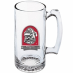 Georgia Bulldogs Dog Red Pewter Accent Glass Super Beer Mug