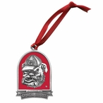 Georgia Bulldogs Dog Red Pewter Accent Ornaments, Set of 2
