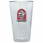 Georgia Bulldogs Dog Red Pewter Accent Pint Beer Glasses, Set of 2