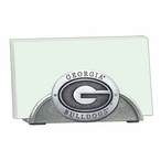 Georgia Bulldogs Metal Business Card Holder with Pewter Accent