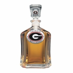 Georgia Bulldogs Red Capitol Glass Decanter with Pewter Accents