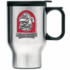 Georgia Bulldogs Red Dog Travel Mug with Handle & Pewter Accent