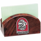 Georgia Bulldogs Red Dog Wood Business Card Holder with Pewter Accent