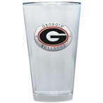 Georgia Bulldogs Red Pewter Accent Pint Beer Glasses, Set of 2