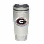 Georgia Bulldogs Red Stainless Steel Travel Mug with Pewter Accent