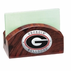 Georgia Bulldogs Red Wood Business Card Holder with Pewter Accent