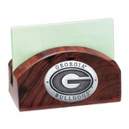 Georgia Bulldogs Wood Business Card Holder with Pewter Accent