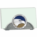 Georgia Southern Eagles Blue Metal Business Card Holder with Pewter