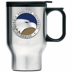 Georgia Southern Eagles Blue Travel Mug with Handle & Pewter Accent