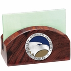 Georgia Southern Eagles Blue Wood Business Card Holder with Pewter