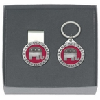 Grand Old Party Republican Red Money Clip & Key Chain Pewter Gift Set
