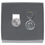 Grizzly Bear Round Money Clip & Key Chain Gift Set with Pewter Accents