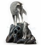 Guidance Mom and Baby Wolf Sculpture by Lisa Parker