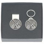Guitars Money Clip & Key Chain Gift Set with Pewter Accents