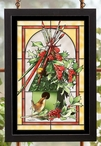 Happy Holly Days Stained Glass Wall Art
