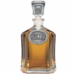 Illinois Fighting Illini Capitol Glass Decanter with Pewter Accents