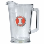 Illinois Fighting Illini Orange Glass Pitcher with Pewter Accent