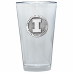 Illinois Fighting Illini Pewter Accent Pint Beer Glasses, Set of 2