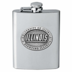 Illinois Fighting Illini Stainless Steel Flask with Pewter Accent