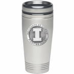 Illinois Fighting Illini Stainless Steel Travel Mug with Pewter Accent