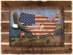 In God We Trust Bald Eagle Wrapped Canvas Art Print on Wood Pallet