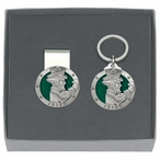 Irish Fighter Green Money Clip & Key Chain Gift Set w/ Pewter Accents