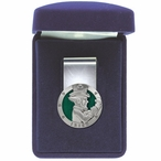 Irish Fighter Green Steel Money Clip with Pewter Accent