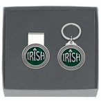 Irish Green Money Clip & Key Chain Gift Set with Pewter Accents
