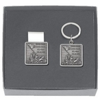 Iwo Jima Money Clip & Key Chain Gift Set with Pewter Accents