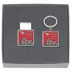 Iwo Jima Red Money Clip & Key Chain Gift Set with Pewter Accents