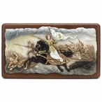 Joan of Arc Leading Troops into Battle Wood Wall Plaque