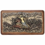 Joan of Arc Leading Troops into Battle Wooden Wall Plaque