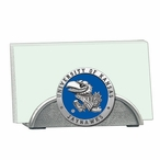 Kansas Jayhawks Blue Metal Business Card Holder with Pewter Accent