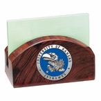 Kansas Jayhawks Blue Wood Business Card Holder with Pewter Accent