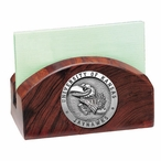 Kansas Jayhawks Wood Business Card Holder with Pewter Accent