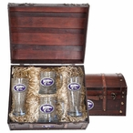 Kansas State Wildcats Purple Pewter Accent Beer Chest Box Set