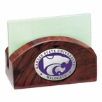 Kansas State Wildcats Purple Wood Business Card Holder with Pewter