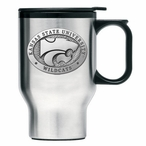 Kansas State Wildcats Stainless Steel Travel Mug with Handle & Pewter