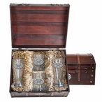 Kennesaw State Owls Pewter Accent Beer Chest Box Set