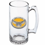 Kennesaw State Owls Yellow Pewter Accent Glass Super Beer Mug