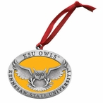 Kennesaw State Owls Yellow Pewter Accent Ornaments, Set of 2