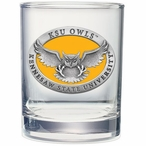 Kennesaw State Owls Yellow Pewter Double Old Fashion Glasses, Set of 2