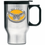Kennesaw State Owls Yellow Travel Mug with Handle & Pewter Accent