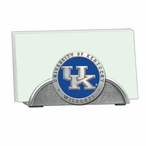 Kentucky Wildcats Blue Logo Metal Business Card Holder with Pewter