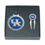 Kentucky Wildcats Blue Logo Pewter Bag Tag & Repair Tool Golf Set
