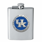 Kentucky Wildcats Blue Logo Stainless Steel Flask with Pewter Accent