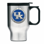 Kentucky Wildcats Blue Logo Travel Mug with Handle & Pewter Accent
