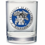 Kentucky Wildcats Blue Pewter Double Old Fashion Glasses, Set of 2
