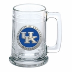 Kentucky Wildcats Logo Blue Pewter Accent Glass Beer Mug